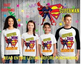 Super-Man theme birthday BOY theme Shirts for the entire family Girl Dad Mom  Age Name Custom Raglan T-shirt superman hero