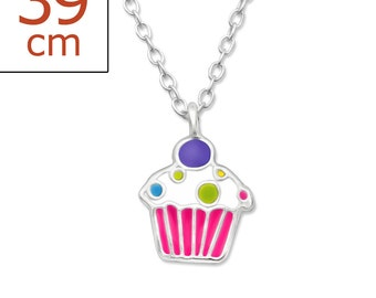 SALE Childrens Enamel Happy Birthday Cupcake Pendant Necklace - 15 inches - FORZ1388