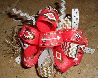 Follow Your Arrow Chevron Tribal Design Hair Bow Coral White Gold