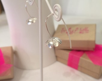 Little Flower Bell Earrings - Sterling Silver