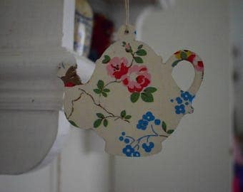 Handmade Decoupage Teapot Hanging Decoration Cath Kidston Designs