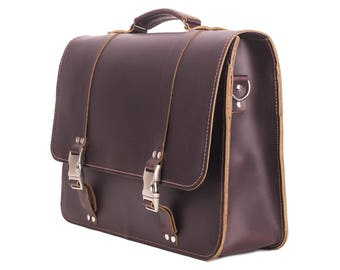 Coffee Brown Leather Messenger Bag w/ Laptop pocket Free Shipping