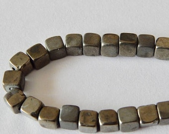 CLEARANCE Pyrite Cube Beads 8mm