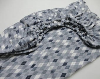 Flannel Argyle Fitted Crib Sheet - Ready to ship