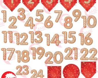 Christmas advent calendar, Advent calendar DIY, Gingerbread cookie numbers, Gingerbread advent, AMB-1527