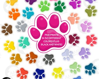 Puppy paws Clipart, Pet Clipart, Dog paws, Dog paws with outline 30 colors, Commercial Use, AMB-1860