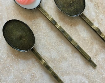 Nickel free..10 pcs Filigree Bobby Pin Blanks,,Antique Bronze Flower Hair Pins , Hair Clip , perfect for resin cabochon.