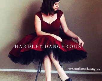 """2 Piece Set! Burgundy Wine CHERI Bridesmaid Dress by Hardley Dangerous Couture, with 1950s Style Black Tulle Petticoat, 38"""" length"""