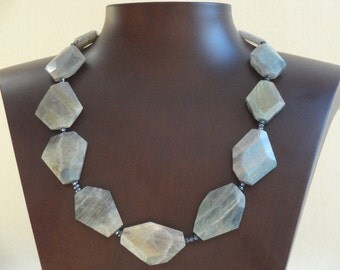 Labradorite 1-Row Necklace with  Faceted Coated Spinel.