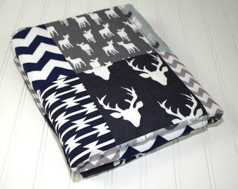 Woodland Baby Quilt, Deer, Arrows, Buck Heads, Aztec, Patchwork Baby Boy Quilt, Navy Gray Bedding, Woodland Nursery, Minky Baby Quilt