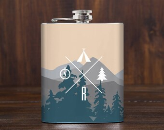 Travel gift, whiskey flask, flasks for men, personalized gifts, outdoors gift, camp gift, camping gift, hiking essentials, 7 oz hip flask