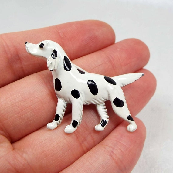 Vintage Adorable Gerry's White and Black Enamel Spotted Dog Dalmatian Brooch Pin