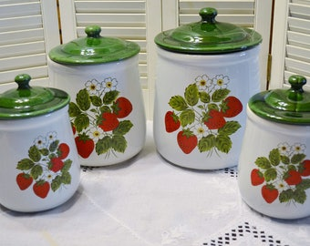 Vintage McCoy Strawberry Country Canister Set of 4 Red Green Berry Container Cookie Jar Crock PanchosPorch