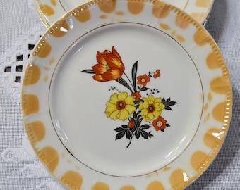 Vintage Crooksville Bread Dessert Plate Set of 4 Floral Yellow Orange Replacement PanchosPorch