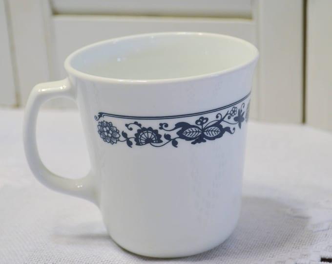 Vintage Corelle Mug Old Town Coffee Cup Blue White Floral Design Corning PanchosPorch