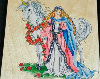 """Unicorn & Maiden LARGE Rubber Stamp by Stamps Happen Pre-Owned #90007  5.25x6"""" Code 6"""