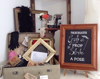 Vintage Photo Booth Kit Hire - Suffolk, UK - Wedding -  Props Frames - Chalkboard Sign