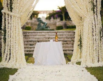 "10 pcs Length 94cm/37"" Wisteria Garland Hanging Flowers For Outdoor Wedding Ceremony Decor Silk Wisteria Vine Wedding Arch Floral Decora"