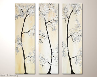 """Original abstract tree fine art painting on canvas 36x39 inches: """"Trees of harmony"""" framed wall art with acrylics -abstract landscape, tree"""