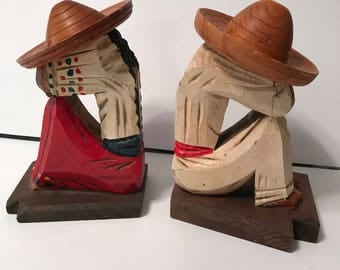 Vintage mexican siesta bookends