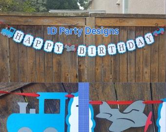 PLANES TRAINS AUTOMOBILES TRANSPORTATiON  banner Birthday Baby Shower Nursery Decor