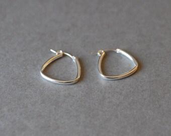 """Triangle  Hoop Earrings """" Silver """" - Sterling Silver"""