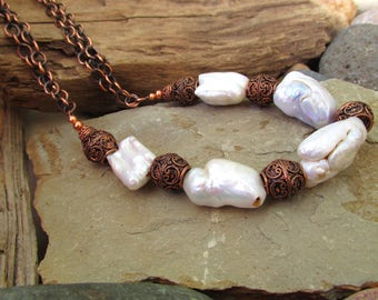 Giant Baroque Pearls and Copper Filigree Chunky Necklace