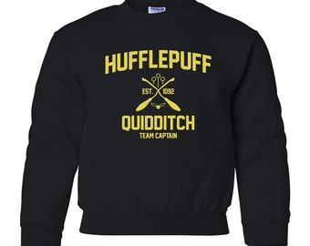 Harry Potter Sweatshirt Hufflepuff Sweatshirt Harry Potter Hufflepuff Quidditch Hogwarts Sweater Sweatshirt Crewneck Unisex Youth Kids