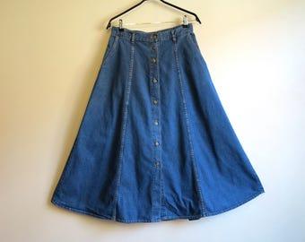 Denim maxi skirt | Etsy