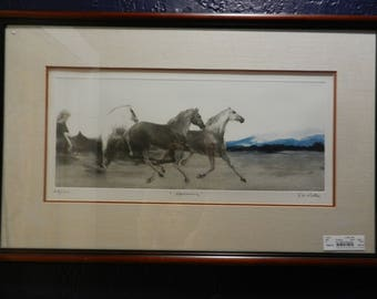 """G.H. Rothe Signed and Numbered Horse Mezzotint Print """"Morning"""""""