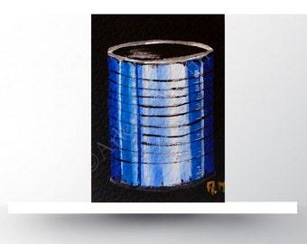 Tin can art ACEO cards  Original acrylic painting Original aceo Collector art card Acrylic aceo