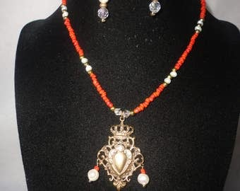 Exquisite Coral Fresh Water Pearl Crown Pendant Necklace Set****.