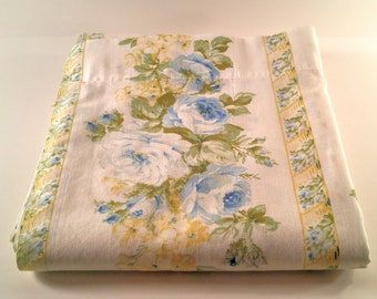 Vintage Full Flat Bed Sheet. White, Blue, Green and Golden Yellow Rose Floral. Country, Farmhouse, Cottage Chic, Girls Room Decor.