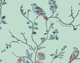 Art Gallery Fabric Vie de Bohème Sunrise birds IN KNIT on teal