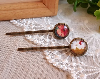 Hair accessory set of two hair pins Floral cabochon Nature theme accessory