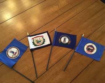 Vintage State Stick Flags Set of 4