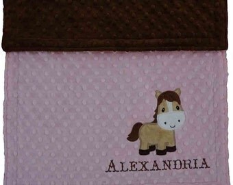 Personalized Baby Blanket, Personalized Horse Blanket, Cowgirl Blanket, Pink Minky Horse Blanket, Choose your colors and size