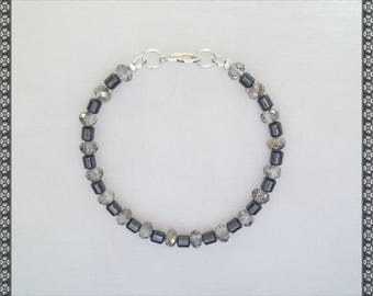 grey bracelet, sivler and gray bracelet, hematite bracelet, dark grey, hematite