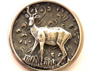Brooch Vintage Deer Simba Africa Silver Plated Handmade