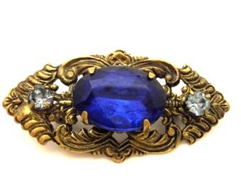 Antique Art Nouveau Blue Sapphire Glass Facet Stone Brooch Gold Plated Austria
