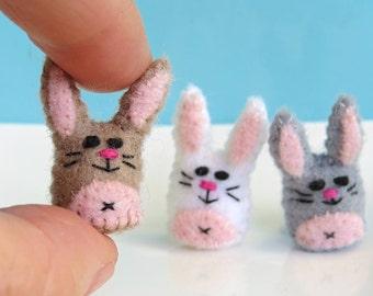 Miniature Felt Rabbit - Tiny bunny pet toy - thimble sized