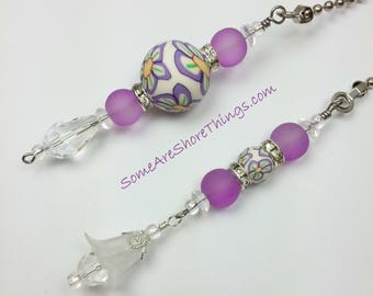 Ceiling Fan and Light Pull Chains with Flower Theme.  Lavender Color Home Decor Ceiling Fan Accessory.  Unique Gift Idea.