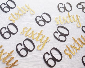 60th Birthday Confetti, Black & Gold or Silver Number 60 Party Decoration, Number Decorations, 50 Ct.