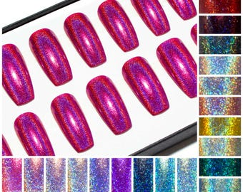Holographic Glue On Coffin Nails - Holo Press On Nails - Long Acrylic Nails - Ballerina Fake Nails - Gloss False Nails - Hologram Nail Set