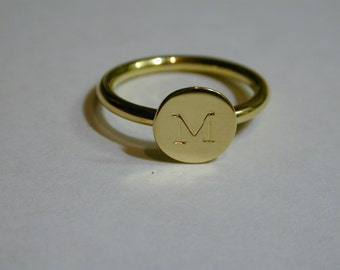 2mm thick 18 carat gold letter ring, initial ring