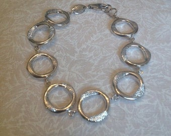CHARLES GARNIER 925 Sterling Silver Diamond Finish Link Bracelet - Charles Garnier Silver Link Bracelet - Charles Garnier Silver Bracelet