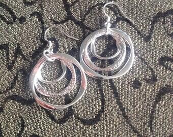 925 Sterling Silver Vintage Dangle Hoop Hook Earrings - Sterling Silver Hoop Dangle Earrings - Hoop Earrings, Silver - Sterling Earrings