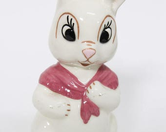 Adorable Easter Bunny Rabbit Figurine with Shawl, Kitsch