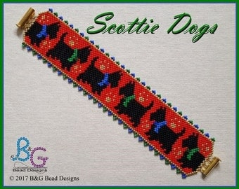 SCOTTIE DOGS Peyote Cuff Bracelet Pattern