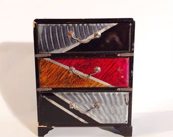 Unique Colorful  Wooden 3 Drawer Jewelry Box